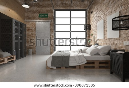 Bedroom with pallets bed - 3 D rendering using 3 D S Max - stock photo