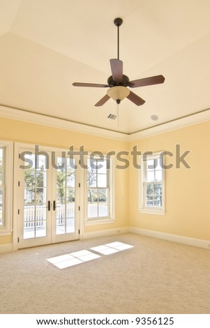 bedroom with porch and view - stock photo