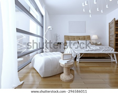 Bedroom with white walls in modern style. floor to ceiling panoramic window and pendant lamps provide a good light in the room.  3D render