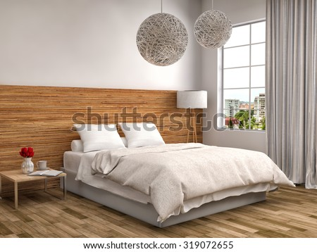 bedroom with wood trim. 3d illustration - stock photo