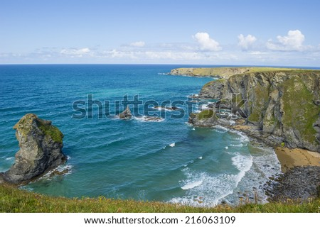 Bedruthan steps beach in Cornwall, UK. - stock photo