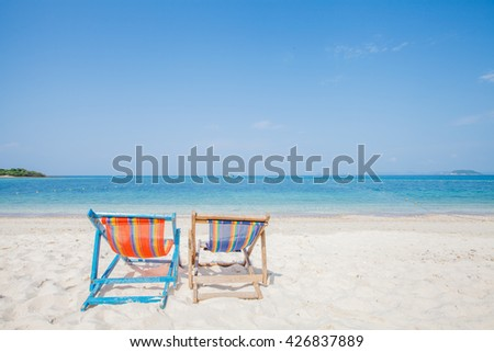 Beds on beach and blue sky