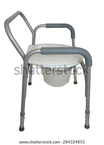 Bedside commode to be used as a raised seat over a traditional toilet, a commode outside the bathroom, or a shower chair. - stock photo