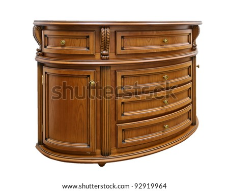 bedside table isolated on white background