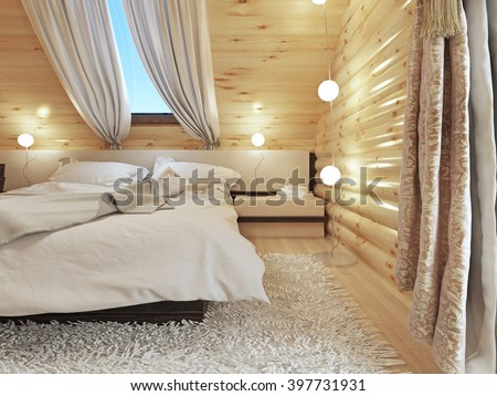 Bedside tables with lamps and a floor lamp in the modern bedroom. Bedroom interior in a log house. 3D render. - stock photo