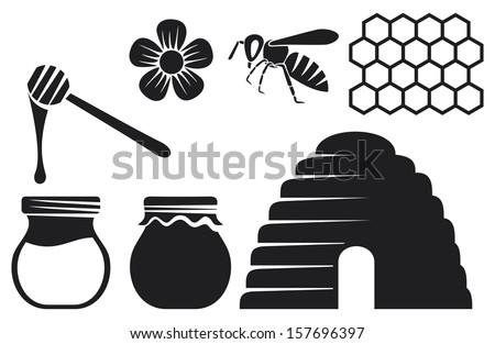 Line Art Bee : Bee honey icons stock illustration  shutterstock