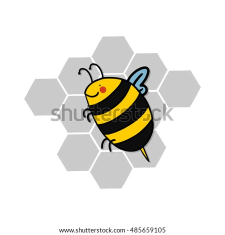 Bee and honeycomb illustration; Bee cartoon