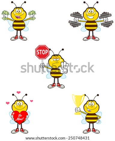 Bee Cartoon Mascot Character Different Interactive Poses 2. Raster Collection Set Isolated On White - stock photo