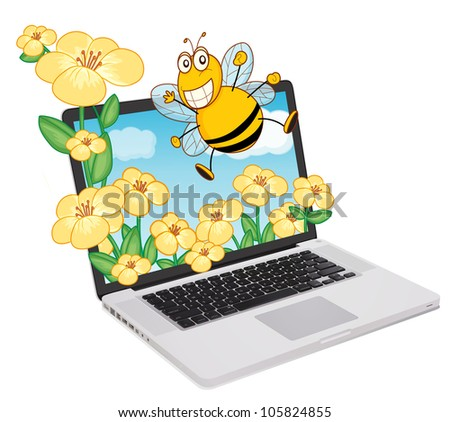 Bee coming out of a computer screen - stock photo