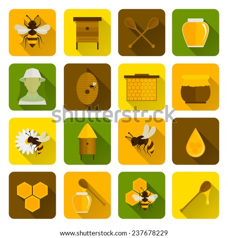 Bee honey icons flat set with beekeeper honeycomb beehive isolated  illustration