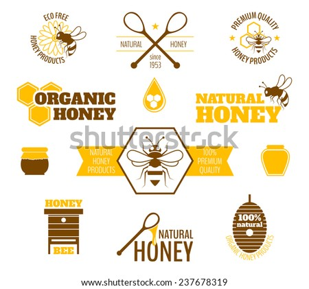 Bee honey natural organic products colored label set isolated  illustration - stock photo