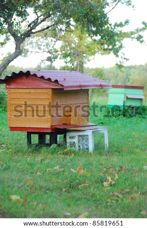 Bee houses at field - stock photo