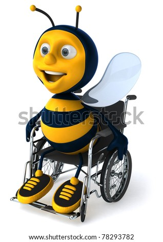 Bee in a wheelchair - stock photo