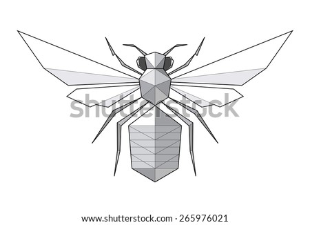 Bee. Low polygon linear illustration - stock photo