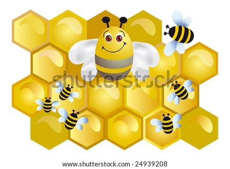 Bee on a background honey