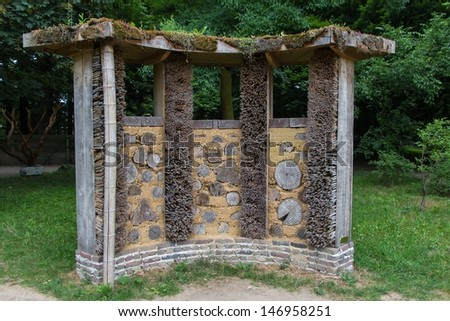 Bee or insect  hotel in a park
