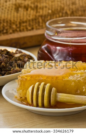 Bee propolis and honey delicious, useful and medicinal products - stock photo