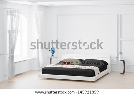Beedroom with curtain and bed flowers on table - stock photo
