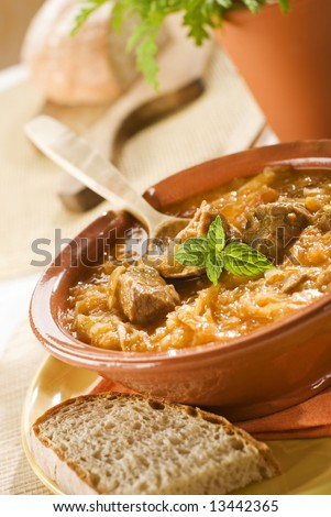 beef and cabbage goulash close up shoot - stock photo