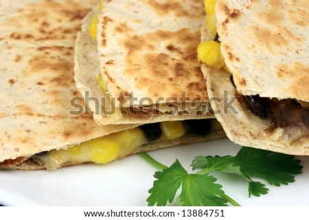 beef and corn mexican breakfast quesadillas