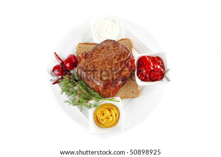 beef and sauces with seasoning on white - stock photo