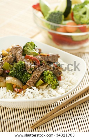 Beef and vegetables Chop suey close up