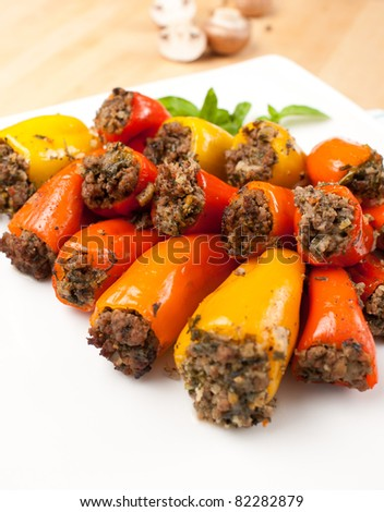 Beef and Vegetables Stuffed Mini Bell Peppers Served on Platter - stock photo
