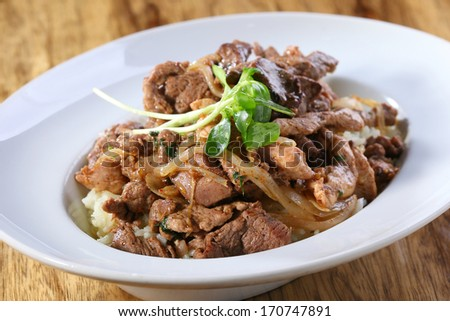 beef asian dish - stock photo