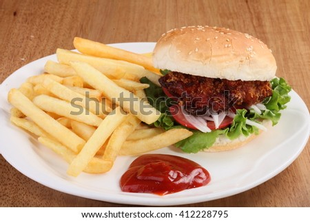 Beef burger, fries