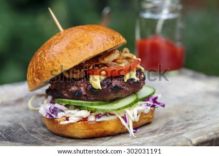 Beef burger in brioche bun