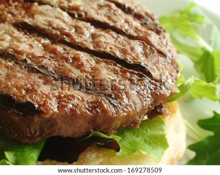 beef burger on bun with lettuce - stock photo