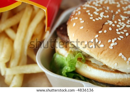 Beef burger sandwich & french fries - stock photo