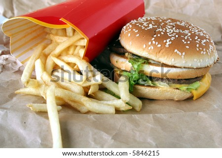 Beef burger sandwich & french fries