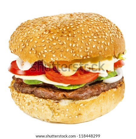Beef burger with tomatoes,cucumber and onion isolated on white - stock photo