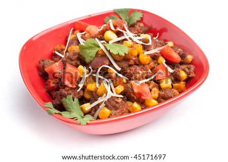 beef chili with beans, corns and cilantro - stock photo