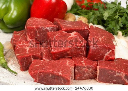 beef cubes - stock photo