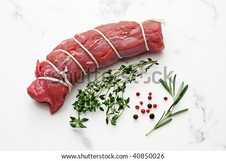 beef fillet with spices - stock photo