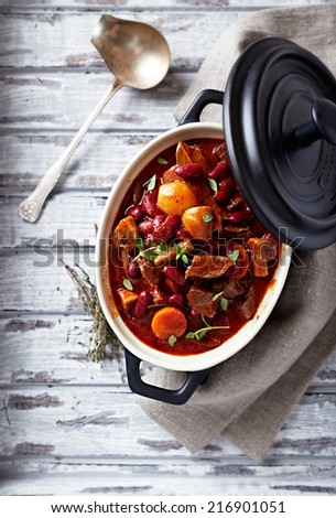 Beef goulash with mushrooms and vegetables - stock photo