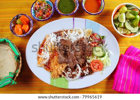Beef grilled mexican style bisteck chili sauces and tortilla - stock photo