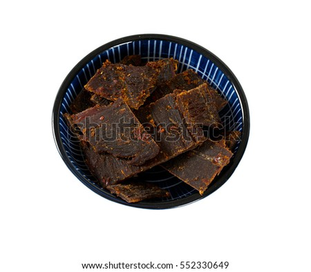 beef jerky isolated on white