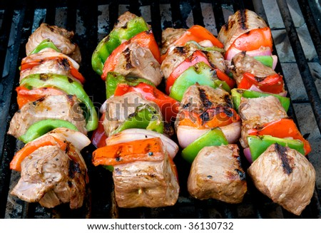Beef kabobs on the barbecue grill - stock photo