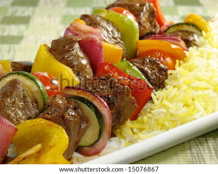 Beef kebabs with saffron flavored basmati rice. - stock photo