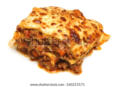 Beef lasagna isolated on white background - stock photo