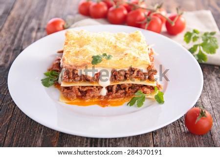 beef lasagne - stock photo