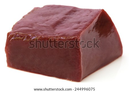 Beef liver over white background  - stock photo