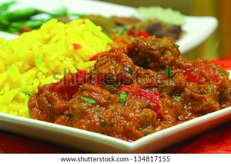 beef madras curry with pilau rice - stock photo