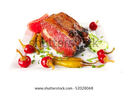 beef meat and red peppers on white