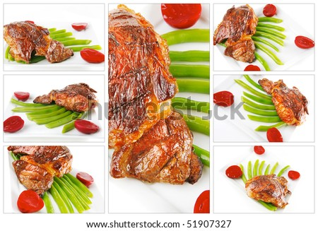 beef meat served with beans on white dish - stock photo