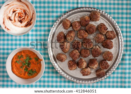 Beef meatballs on the plate - stock photo