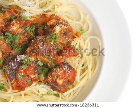 Beef meatballs with spaghetti - stock photo